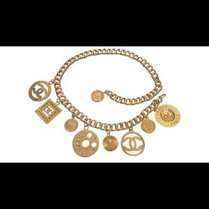 Vintage Chanel season 28 gold plated 9 charms belt